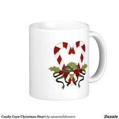 Candy Cane Christmas Heart Classic White Coffee Mug