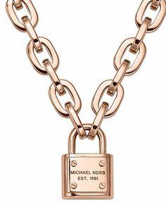 Michael Kors Rose Gold-Tone Chain Padlock Pendant Necklace - Fashion Jewelry - Jewelry & Watches - Macy's