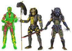 Pack 3 figuras Predators, 18cm. Serie 11 NECA Pack 3 figuras de 18cm pertenecnete a la serie 11 de Predators compuesto por: Wasp Predator, Armored Lost Predator y Dutch Térmico. Figuras articuladas y con accesorios muy bien detalladas.