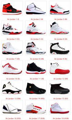 Jordans 1 to 18