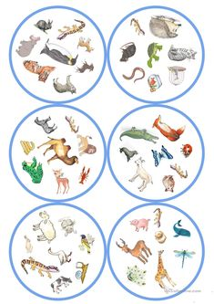German lessons: Dobble - Animals cards / 8 symbols) - From my HoMe English Games, Kids English, English Activities, English Lessons, Woodland Party, Teaching English, Teacher Resources, Art Education, Animals Beautiful