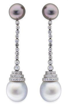 Tahitian, South Sea Pearl and Diamond Earring
