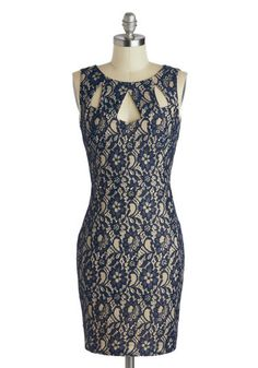 Across the Table Dress. Your heart doesnt stop fluttering from the start of your romantic dinner, to which you wear the navy-blue overlay of this lace dress, to the goodnight kiss. #blueNaN