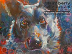 """""""Blue Heeler"""" by Kimberly Kelly Santini - creating daily paintings with soul at PaintingaDogaDay.com"""