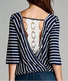 V-Neck 3/4 Sleeve Striped Hollow Out Women's Blouse