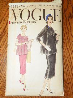 Vogue maternity pattern two piece tunic top skirt pattern 1957.