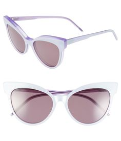 Cat-eye frames add feline appeal to these pretty lavender-hue sunglasses.