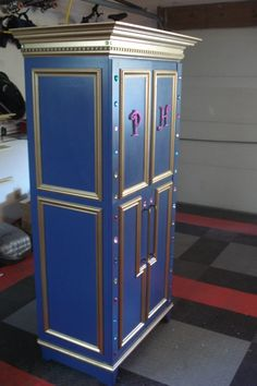 DIY Princess Wardrobe ~ add glitter to paint; add lights inside, adorn with jewels, initals, mouldings