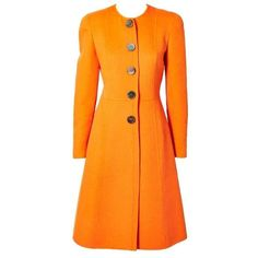 Preowned Valentino Double Face Wool Fitted Coat ($1,095) ❤ liked on Polyvore featuring outerwear, coats, multiple, orange coat, valentino coat, woolen coat, fitted wool coat and collarless coat