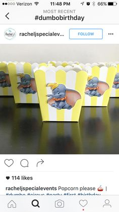Dumbo popcorn boxes, party favors, great for candy buffet table. Add popcorn or peanuts to go more with the Dumbo theme. Dumbo Birthday Party, Baby 1st Birthday, Circus Birthday, Boy Birthday Parties, Jordan Baby Shower, Dumbo Baby Shower, Baby Shower Themes, Baby Shower Gifts, Work Baby Showers