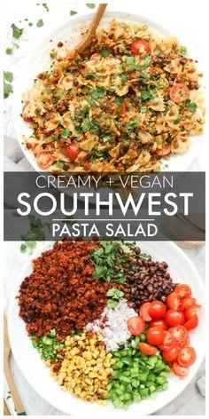 Creamy Vegan Southwest Pasta Salad - bow tie pasta, tons of veggies & soyrizo to. Creamy Vegan Southwest Pasta Salad - bow tie pasta, tons of veggies & soyrizo topped off with a creamy southwest dressing that is to die for! Vegan Dinner Recipes, Veggie Recipes, Whole Food Recipes, Healthy Recipes, Healthy Meals, Sandwich Recipes, Easy Vegan Meals, Vegan Recipes For One, Easy Vegan Lunch