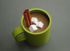 Hot chocolate and marshmallow paper illustration on the blog: blog.chloefleury.com