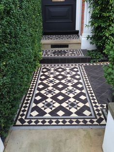 Recreate the Downton Abbey Look with Victorian Tiles black and white tessellated front patio tiles i House Entrance, Garden Tiles, Victorian Front Doors, Front Patio, Porch Tile, Victorian Front Garden, Victorian Terrace, Victorian Tiles, Patio Tiles