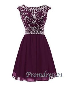 Vintage prom dresses short, burgundy chiffon junior prom dress, 2016 beaded short formal dress for teens http://www.promdress01.com/#!product/prd1/4380830505/amazing-burgundy-chiffon-beaded-short-prom-dress