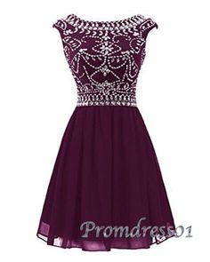 Vintage prom dresses short, burgundy chiffon junior prom dress, 2016 beaded short formal dress for teens http://www.promdress01.com/#!product/prd1/4380830505/amazing-burgundy-chiffon-beaded-short-prom-dress