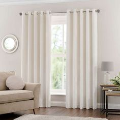 Available in a range of widths and drops, this pair of Mirabelle curtains are crafted with a soft, brushed textured feel finished in a neutral ivory colour. Fully lined, these curtains are complete with a modern eyelet header for ease of hanging. Technique Brushes, Curtains Dunelm, Types Of Curtains, Improve Yourself, New Homes, Ivory, Living Room