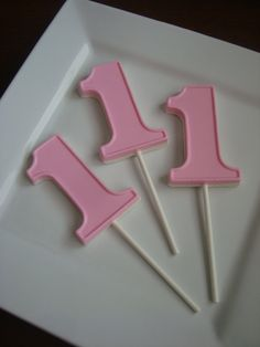 12 White Chocolate #1 Lollipops One Baby's First Birthday Party Favors Pink Girl Food Candy