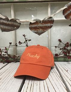 665979c506da3 PEACHY Baseball Hat Low Profile Embroidered Baseball Caps Dad Hats Burnt  Orange w  Peach Thread