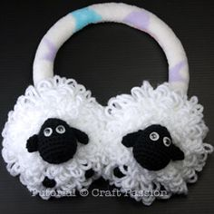 Crochet Sheep Earmuffs - I don't care if they say it's for kids, I want to make a pair for myself!!!