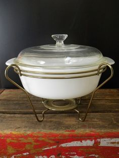 RARE Fire King Dish with Warming Stand by BelleBeauAntiquarian
