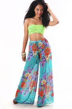 Tropicana Wide Leg Pants  $ 39.99    Vibrant chiffon wide leg pants with bold Aztec inspired prints at the bottom. Elastic waist band. Short pant lining underneath. Pair with a cropped top or tuck in a fitted top. Chiffon Pants, Cropped Top, Dress Fashion, Wide Leg Pants, Aztec, Trendy Outfits, Elastic Waist, Vibrant, Classy