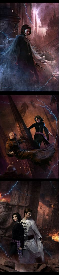 Ah, yes, my dear, sweet children *coughs* I mean, two of my favorite characters of all time, Vin and Elend of the Mistborn books. [Mistborn Covers by Chris McGrath]