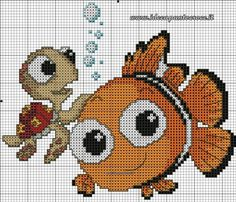 Schema nemo punto croce disney cross stitch patterns, cross stitch for kids, cross stitch Cross Stitch Baby, Cross Stitch Animals, Modern Cross Stitch, Cross Stitch Charts, Cross Stitching, Cross Stitch Embroidery, Embroidery Patterns, Disney Cross Stitch Patterns, Cross Stitch Designs