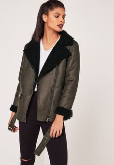 Missguided - Khaki Faux Suede Shearling Lined Aviator Biker Jacket