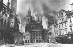 May 1945 - Old Town in fire - Prague Uprising against German Nazi occupation of Czechia. Old Pictures, Old Photos, Prague Photos, Dramatic Photos, Prague Czech Republic, Old Town Square, Historical Pictures, World War Ii, Wwii