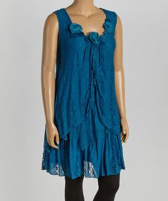 This Turquoise Lace Sleeveless Silk-Blend Tunic - Plus is perfect! #zulilyfinds  OOO I like this!