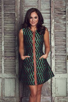 Colourful: The ex Geordie Shore star looked gorgeous in green as she models a pretty print...