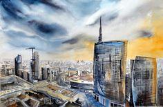 """"""" Milano gotica """" acquerello 30x45 di Lorenza Pasquali N,D, www.lorenzapasquali.it  Copyright © Lorenza Pasquali"""