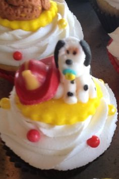 Frosting Dalmatian for baby shower  Fire hat made of chocolate