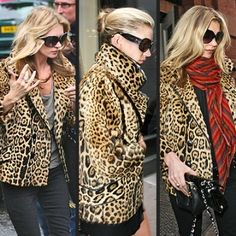Kate Moss in Leopard jacket