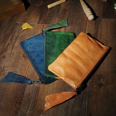 ALAVCHNV planted tanned leather handmade retro full leather men and women long wallet ultra-thin leather handbag Q046