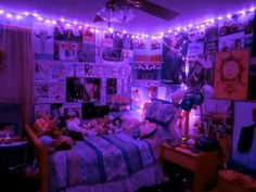 Purple and blue aesthetic neon lights bedroom in red room lighting stores amp client id for Neon Lights Bedroom, Christmas Lights In Bedroom, String Lights In The Bedroom, Bedroom Lighting, Purple Christmas Lights, House Lighting, Interior Lighting, Christmas Diy, Neon Bedroom