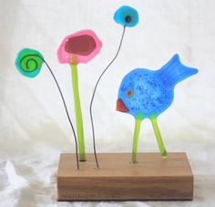 Chirpy bird and fused glass flowers
