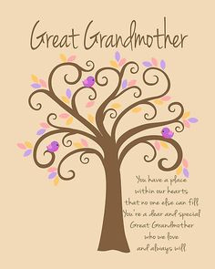 "great grandma sayings and posters | Great Grandmother/Grandchildren Tree Print"" by Doherty-Design ..."