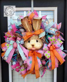 Happy Easter Metallic Mesh Wreath with Glitter Eggs; Pink Turquoise Purple Yellow Easter Door Decor; Pastel Spring Easter Egg Door Decor