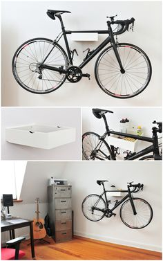 Road bike wall mount made from an old drawer. I don't know how I would keep the floor clean underneath it...