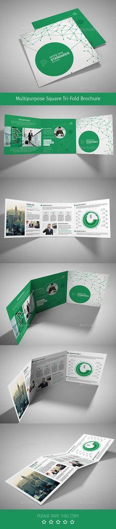 Business infographic : Corporate Tri-fold Square Brochure 10
