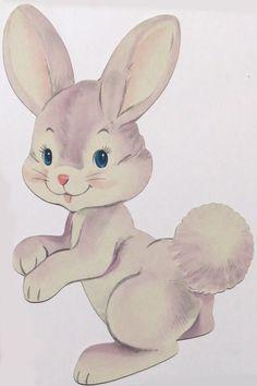 "Vtg Dennison Die Cut Bunny Rabbit Purple Easter Decoration 11"" Tall Violet"