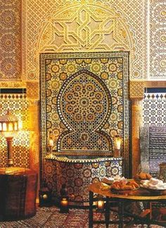 Moroccan interiors and Riads, which are Moroccan homes with garden courtyards, usually have fountains made with intricate mosaic tile designs.