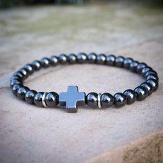 Men's Hematite Cross Bracelet w Sterling silver accents/ rocker black metal faith