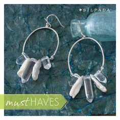 These nature-inspired earrings combine sterling silver circles with elongated drops of pearl and clear rock crystal. #SilpadaStyle