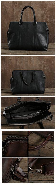 Black Genuine Leather Bag, Men's Laptop Bag, Shoulder Bag GLT004 Laptop Shoulder Bag, Laptop Bag, Vintage Leather, Leather Men, Popular Bags, Black, Black People, Laptop Bags