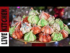 Μπεζέδες Ζαχαροπλαστείου   Live Kitchen   Στολίδια για το Γιορτινό σας Τραπέζι!! Meringue Cookies - YouTube Kitchen Living, Cake Pops, Food To Make, Cooking Recipes, Desserts, Meringue, Cookies, Youtube, Tailgate Desserts