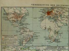 old world map of german language - 1926 vintage print spread germans - alte karte von Deutsche Sprache verbreitung 24x31cm/9x12'' €10.95 via @Shopseen