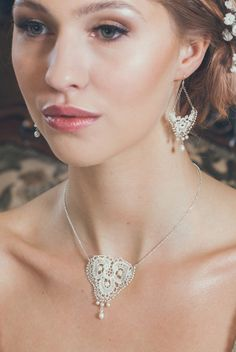 Belle necklace and earrings.Limited edition pieces with embroidered with silver and tiny beads and finished with freshwater Bespoke designs also available. Tatting Earrings, Lace Earrings, Diamond Earrings, Bridesmaid Earrings, Wedding Earrings, Bridal Accessories, Wedding Jewelry, Lace Wedding, Vintage Lace