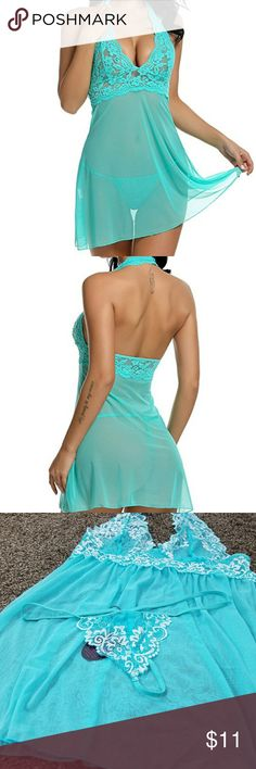 *NWT* Lace Halter Babydoll Lingerie Set Brand new, never worn, with tags and in original packaging.  Soft and elegant mesh with lace detailing. Halter, pullover style; no closures. Comes with matching g-string.  First two pictures show color more accurately (almost like seafoam green).  Bundles and offers welcome! Intimates & Sleepwear Chemises & Slips